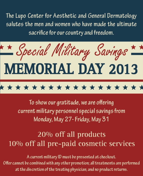 Special Military Savings - Memorial Day 2013