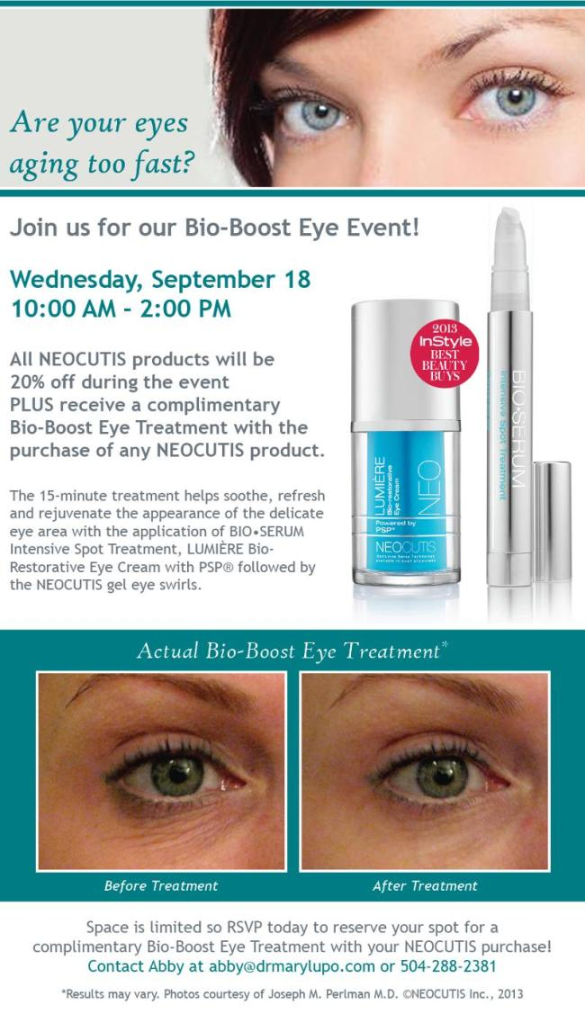 Neocutis Bio-Boost Eye Event - Dr Mary Lupo  New Orleans